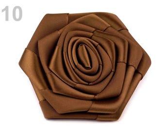 2 flowers satin Brown 7 cm