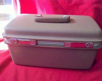 Train Case Samsonite, , Light Browntage luggage, DIY, makeup case, with mirror