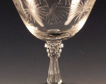 Fostoria Lido Etched Crystal Low Sherbet 4 5/8 Inches Champagne Clear Vintage Stemware Elegant Glass Glassware Etch