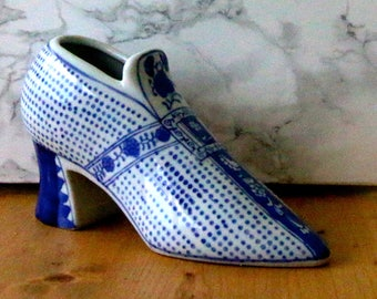 Vintage Blue and White Ceramic Shoe High Heel