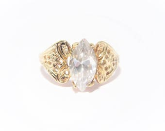 Vintage Clear Rhinestone Marquise Solitaire Fashion Ring Size 7.75