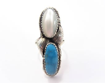 Long Vintage Southwestern Mother of Pearl and Turquoise Ring Size 7