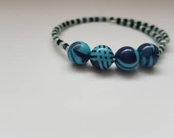 Blue wild black stripe bracelet, danity black square bracelet, beaded bangle, light blue seed bead bracelet, punk chic bracelet,