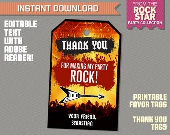 Rockstar Party Favor Tags / Rockstar Thank you Tag - Rockstar Birthday - Karaoke Party - INSTANT DOWNLOAD Edit at home with Adobe Reader