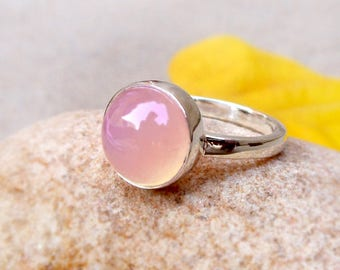 Rose Quartz Ring Silver Pink Stone Ring Silver Ring October Birthstone Ring Pink Ring Solid Sterling Silver Ring Stacking Ring Quartz Ring