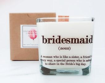 Set of 6 Bridesmaid Candles/ Bridesmaids Gifts/Bridesmaid Boxes/Personalized Bridesmaid Candles/Bridesmaid Proposal Gift/Wedding Candles