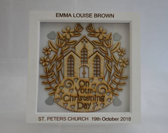 Personalised Christening gift, deep box picture frame / box frame
