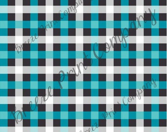 Craft pattern HTV teal, grey, black and white buffalo check craft vinyl printed sheet - HTV or Adhesive Vinyl -  HTV3411