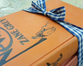 Three Orange Hardcover Books by Zane Grey, Grosset & Dunlap and Collier editions from 1928 to 1940, great gift for Dad...