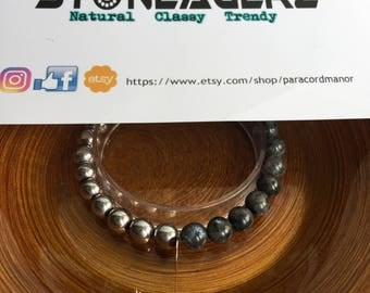 Labradorite with Hematite Beaded Bracelet