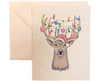 """Lit Reindeer Christmas Cards, Box of 8 w/ envelopes, Greeting Cards, Holidays, Cheerful, Recycled Paper, Natural, Original Art, 4"""" X 5.5"""""""