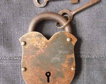 Vintage large lock with Barrel key