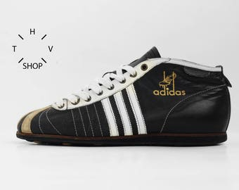 Vintage Adidas Originals Football 1954 sneakers / Retro black white soccer kicks / Indoor Outdoor shoes trainers / made in Indonesia 2000s