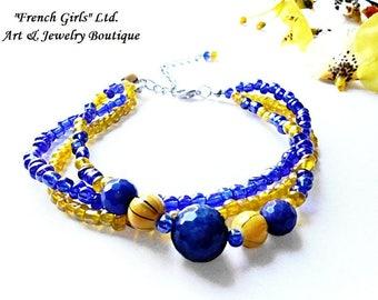 Anklet Foot Bracelet Boho Beach Sandal Jewelry Summer Cobalt Royal Blue Yellow Agate Yoga Gemstone Women Crystal Glass Seed Bead Bohemian