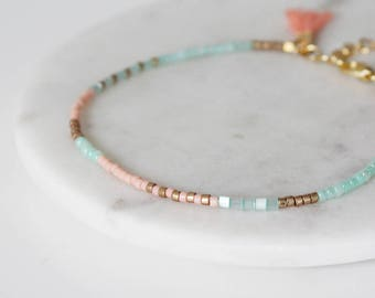 Mint, Peach and Gold Miyuki Seed Bead Bracelet / 16k Gold Plated Bracelet / Friendship Bracelet / Tassel Bracelet / Wish Bracelet / Boho