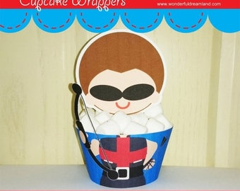 50% OFF Cupcake Wrappers Superhero Baby Boy H - Instant Download Printable Digital PDF File