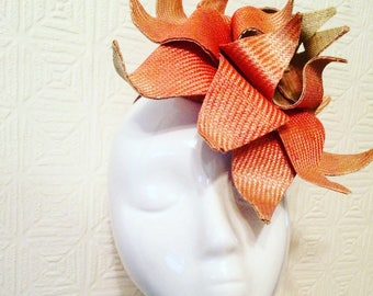 Handmade Ombré Dyed Straw Peach/coral Water Lilly Hat/fascinator
