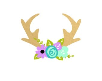 Deer Antlers With Flowers Vinyl Decal | Floral Antlers Decal | Car Decal | Yeti Decal | Cute Decal | Animal Decal | Animal Face |