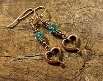 Copper Earrings, Heart Earrings, Dangle Earrings, Drop Earrings