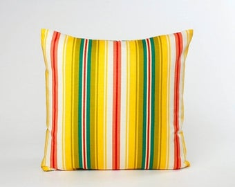 Summer Sale Stripe Throw Pillow Cover, Yellow Orange Green Teal White Stripe Accent Pillow, Pillow Cover designed to fit 16, 18, 20 or 22 in