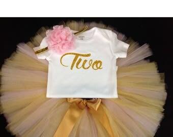 Pink Gold Tutu Set,  Birthday Set, Second Birthday, Pink Birthday Tutu, Pink Gold Second Birthday Tutu Set,2nd Birthday Tutu Outfit, Pink