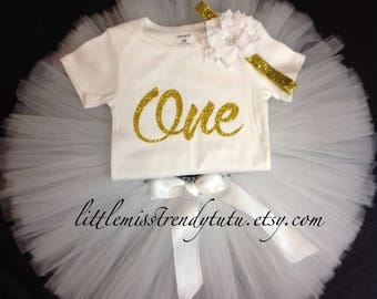 White First Birthday Outfit, First Birthday Tutu Set, White Birthday Tutu, White Birthday Shirt Tutu Set, Girls Birthday Outfit, White Tutu