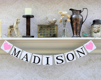 NAME BANNERS, FIRST LAsT Name Signs, Rustic Decor,  Photo Booth, Baby shower signs