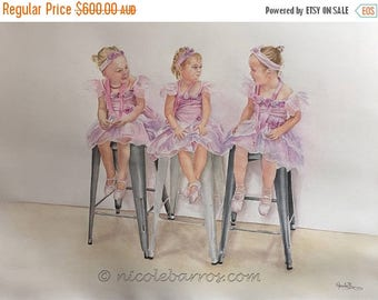 20% Off, Ballerinas Original Watercolor Painting, Large Painting, Girls Room Art, Dance Studio Art, Ballerina Tutu, Original Artwork, Fairy
