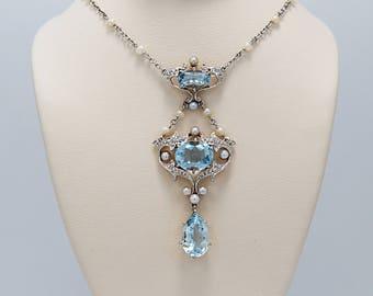 5.15ct. T.W. Platinum Edwardian Aquamarine, Seed Pearl & Diamond Necklace 18K Yellow Gold - J36498