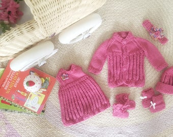 Hand crocheted clothes set for doll or teddy bear