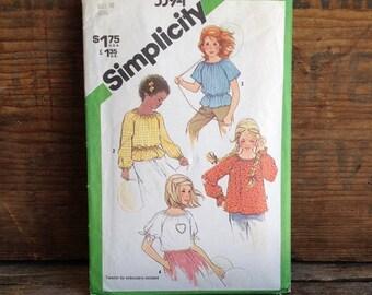 1981 Vintage Simplicity Pattern. Pattern #5394. Girl's Size 10. Vintage Girl's Pull-over Top. Vintage Girl's Pattern. Embroidery Transfer.