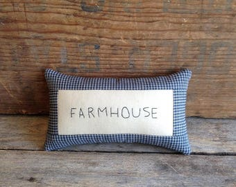 FARMHOUSE Pillow. Hand-written. Hand-stitched. Farmhouse Decor. Handmade Farmhouse Decor. Farmhouse Pillow. Mini Pillow. Small Pillow.
