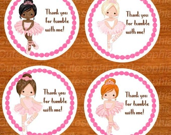 ballerina tags, set 12, favor tags, personalized sticker ballerina party, ballerina birthday party, ballerina birthday, pink, girl,ballerina