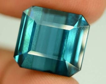 16.30 ct Natural Untreated Indicolite Tourmaline Gemstone from Afghanistan - 14.05 x 12.92 x 9.21mm