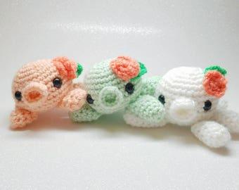 Kawaii octopus plush, chibi kissy squid plushie, amigurumi doll