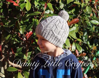 Cable Knitted childrens Hat/pompom/Merino wool/custom made