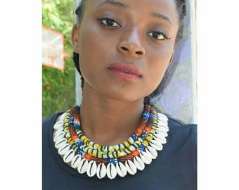 African fabric statement necklace,  Collier plastron,bijoux africains, bijoux Wax, Pagne Africain,  afro Jewelry