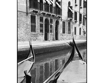 Gondolas, Venice, Signed Art Print / Black and White Photography / Venice Canal Photo