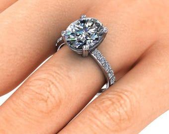 Oval Moissanaite Engagement Ring, 4.20 Carats SuperNova or Forever One, Platinum Ring, Diamond Engagement Ring