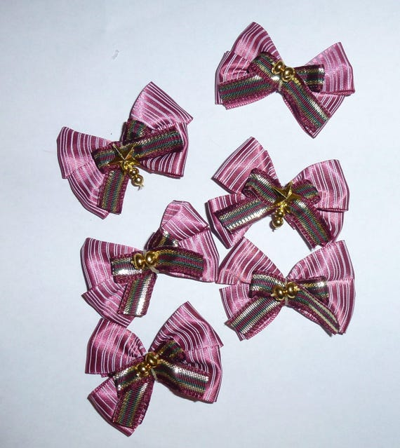 Puppy Bows ~6 burgundy gold  stripe EVERYDAY BOWS Yorkie Maltese Shih Tzu ~Usa seller (fb81)