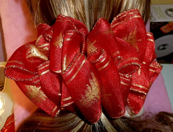 Becky Bows ~  Barrette ribbon Hand crafted oversized  BIG hair bow Women or Girls red gold Christmas trees