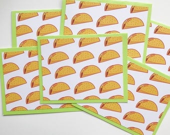 Tacos - Set of Six Greeting Cards With Envelopes