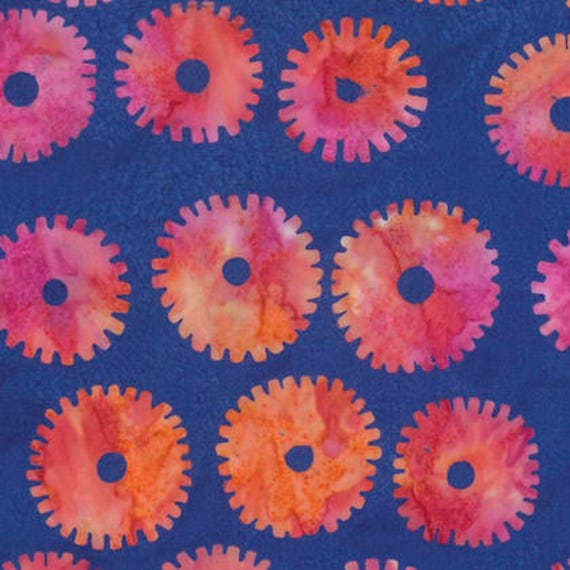 SAW CIRCLES Royal Blue ARTISAN Batik Kaffe Fassett Sold in 1/2 yd increments