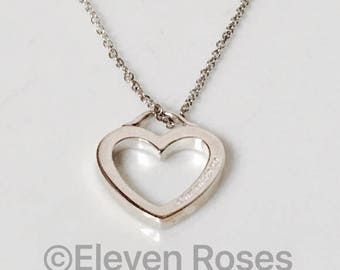 Tiffany & Co 925 Sterling Silver Heart Pendant Chain Necklace