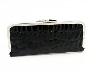 Black Patent Leather Reptile Wallet