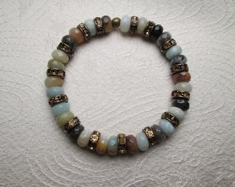 Amazonite stretch bracelet, free gift wrap, boho bracelet, genuine gemstone bracelet, rustic, semiprecious gemstones, pastel, earthy gift