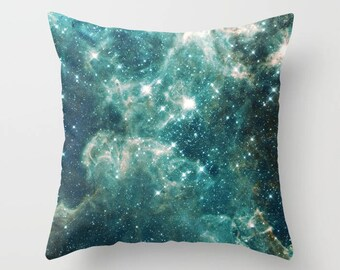 Teal Galaxy Throw Pillow, Swirl, milky way, nebula, stars,  aqua,  modern, outer space, pillows, cushions, throw pillow