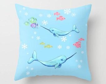 Narwhal Throw Pillow , cute, icy blue ocean, winter, arctic animals,  coastal, rectangular, throw pillow, cushion, cute, sofa, bed, dorm