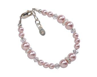 Sterling Silver Swarovski Pink Pearl Bracelet for Girls in Gift Box (Sadie)