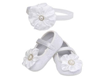 White Baptism Shoe and Headband Set
